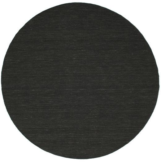 Kilim Loom - Fekete Szőnyeg Ø 250 Modern Kézi Szövésű Kerek Sötétszürke Nagy (Gyapjú, India)