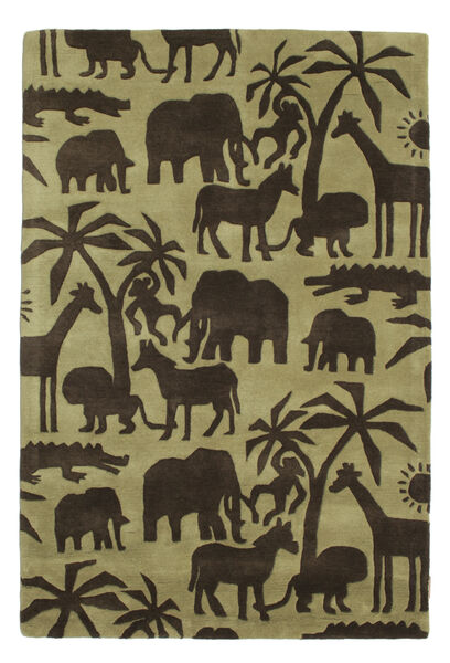 Africa Handtufted Szőnyeg 120X180 Modern Sötétbarna/Olívazöld/Világoszöld (Gyapjú, India)