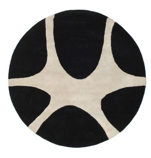 Stones Handtufted - Fekete Szőnyeg Ø 150 Modern Kerek Fekete/Világosszürke (Gyapjú, India)
