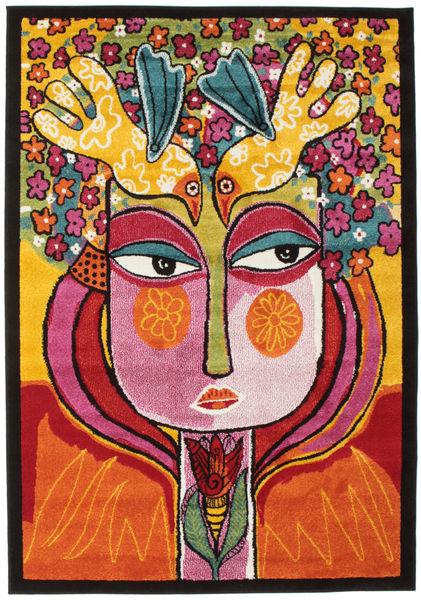 She Has Flowers In Her Hair Szőnyeg 140X200 Modern Sötétbarna/Narancssárga ( Törökország)