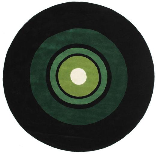 Schallplatte Handtufted Szőnyeg Ø 250 Modern Kerek Sötétzöld Nagy (Gyapjú, India)