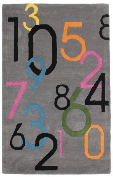 Lucky Numbers - Szürke Szőnyeg 100X160 Modern Sötétbarna/Sötétszürke (Gyapjú, India)