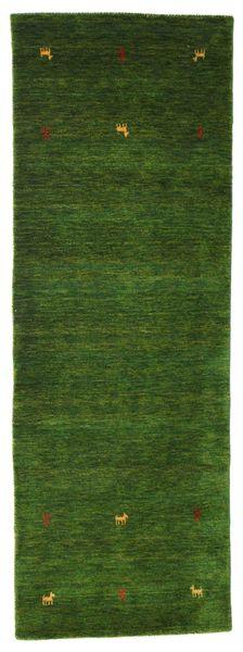 Gabbeh Loom Two Lines - Zöld Szőnyeg 80X250 Modern Sötétzöld (Gyapjú, India)