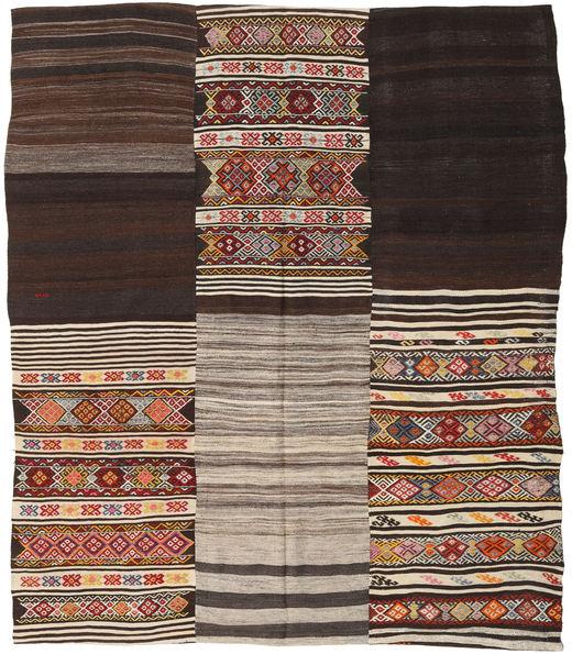 Kilim Patchwork Szőnyeg 214X250 Modern Kézi Szövésű Sötétbarna/Világosszürke (Gyapjú, Törökország)