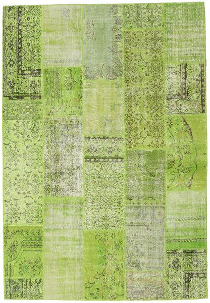 Patchwork Szőnyeg 204X298 Modern Csomózású Világoszöld/Olívazöld (Gyapjú, Törökország)