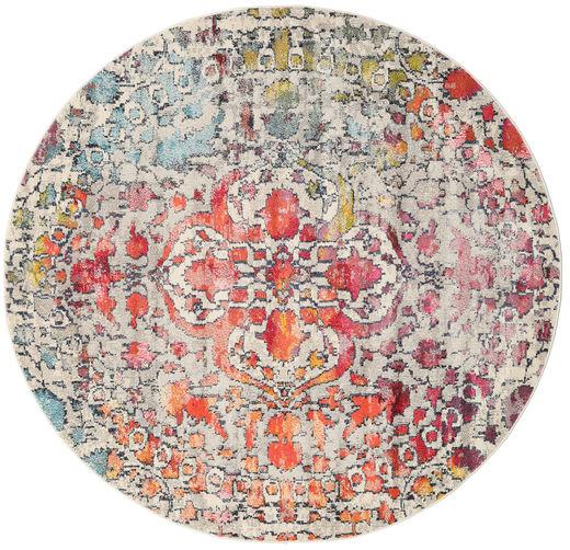 Kaleidoscope - Multi Szőnyeg Ø 200 Modern Kerek Világosszürke/Sötétbarna ( Törökország)