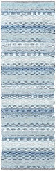 Wilma - Kék Szőnyeg 80X250 Modern Kézi Szövésű Világoskék/Bézs (Pamut, India)