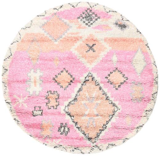 Odda - Rózsaszín Szőnyeg Ø 200 Modern Csomózású Kerek Világos Rózsaszín/Bézs (Gyapjú, India)
