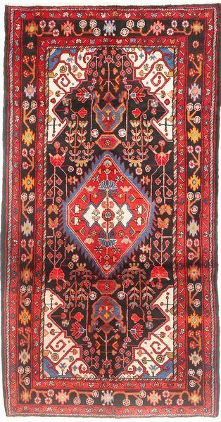 Nahavand Szőnyeg 155X297 Keleti Csomózású Sötétpiros/Sötétbarna (Gyapjú, Perzsia/Irán)