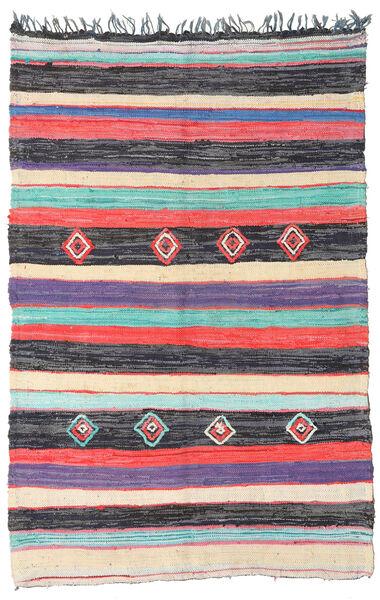 Berber Moroccan - Boucherouite Szőnyeg 170X261 Modern Csomózású Sötétszürke/Bézs ( Marokkó)