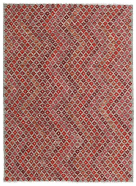 Kilim Modern Szőnyeg 182X248 Modern Kézi Szövésű Sötétpiros/Világosszürke (Gyapjú, Afganisztán)