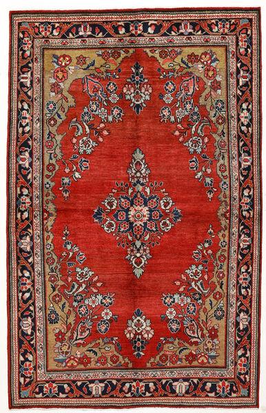 Sarough Szőnyeg 144X230 Keleti Csomózású Sötétpiros/Rozsdaszín (Gyapjú, Perzsia/Irán)