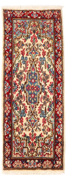 Kerman Szőnyeg 57X145 Keleti Csomózású Sötétpiros/Bézs (Gyapjú, Perzsia/Irán)
