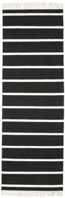 Dorri Stripe - Fekete/White Szőnyeg 80X250 Modern Kézi Szövésű Fekete/Bézs/Krém (Gyapjú, India)