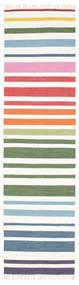 Rainbow Stripe - White Szőnyeg 80X300 Modern Kézi Szövésű Bézs/Krém (Pamut, India)