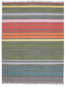 Rainbow Stripe - Szürke Szőnyeg 200X250 Modern Kézi Szövésű Világosszürke/Olívazöld (Pamut, India)