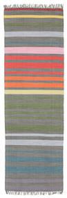 Rainbow Stripe - Szürke Szőnyeg 80X250 Modern Kézi Szövésű Sötétszürke/Világosszürke (Pamut, India)