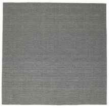 Kilim Loom - Sötétszürke Szőnyeg 300X300 Modern Kézi Szövésű Szögletes Sötétzöld/Világosszürke Nagy (Gyapjú, India)