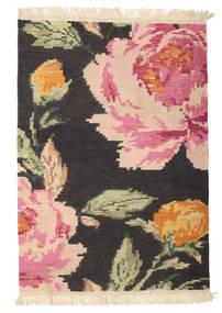 Kilim Karabah Sofia - Fekete Szőnyeg 100X160 Modern Kézi Szövésű Sötétszürke/Világos Rózsaszín (Gyapjú, India)