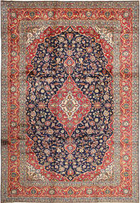 Kashan Szőnyeg 252X365 Keleti Csomózású Sötétpiros/Sötétszürke Nagy (Gyapjú, Perzsia/Irán)