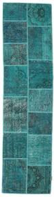Patchwork Szőnyeg 80X302 Modern Csomózású Sötét Turquoise/Türkiz Kék (Gyapjú, Törökország)