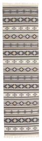 Kilim Cizre Szőnyeg 80X300 Modern Kézi Szövésű Világosszürke/Bézs (Gyapjú, India)