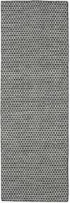 Kilim Honey Comb - Fekete/Szürke Szőnyeg 80X240 Modern Kézi Szövésű Világosszürke/Sötétszürke (Gyapjú, India)