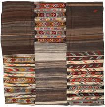 Kilim Patchwork Szőnyeg 233X234 Modern Kézi Szövésű Szögletes Sötétbarna/Világosbarna (Gyapjú, Törökország)