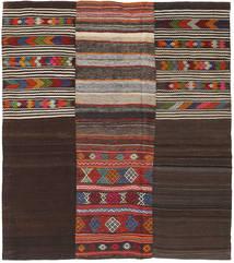 Kilim Patchwork Szőnyeg 214X242 Modern Kézi Szövésű Sötétbarna/Sötétpiros (Gyapjú, Törökország)