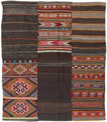 Kilim Patchwork Szőnyeg 198X234 Modern Kézi Szövésű Sötétbarna (Gyapjú, Törökország)