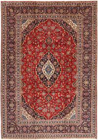 Kashan Szőnyeg 254X365 Keleti Csomózású Sötétpiros/Sötétbarna Nagy (Gyapjú, Perzsia/Irán)
