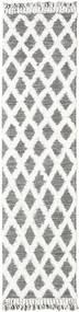 Inez - Sötétbarna/White Szőnyeg 80X300 Modern Kézi Szövésű Világosszürke/Bézs/Krém (Gyapjú, India)