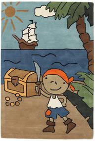Pirate Handtufted Szőnyeg 120X180 Modern Világosbarna/Fekete (Gyapjú, India)