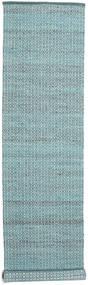 Alva - Turquoise/White Szőnyeg 80X350 Modern Kézi Szövésű Világoskék/Sötét Turquoise (Gyapjú, India)