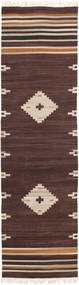 Tribal - Barna Szőnyeg 80X300 Modern Kézi Szövésű Sötétbarna/Bézs (Gyapjú, India)