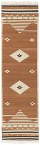 Tribal - Mustard Yellow Szőnyeg 80X300 Modern Kézi Szövésű Barna/Világosbarna/Bézs (Gyapjú, India)
