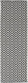 Torun - Fekete/Neutral Szőnyeg 80X250 Modern Kézi Szövésű Fekete/Világosszürke (Pamut, India)