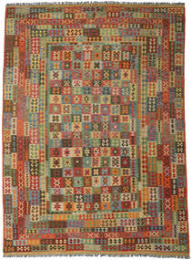 Kilim Afgán Old Style Szőnyeg 296X406 Keleti Kézi Szövésű Sötétbarna/Olívazöld Nagy (Gyapjú, Afganisztán)