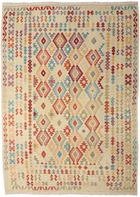 Kilim Afgán Old Style Szőnyeg 247X350 Keleti Kézi Szövésű Bézs/Sötét Bézs (Gyapjú, Afganisztán)