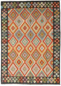 Kilim Afgán Old Style Szőnyeg 185X260 Keleti Kézi Szövésű Fekete/Világoszöld (Gyapjú, Afganisztán)