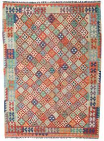 Kilim Afgán Old Style Szőnyeg 180X247 Keleti Kézi Szövésű Sötétpiros/Világosszürke (Gyapjú, Afganisztán)