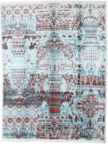 Sari Tiszta Selyem Szőnyeg 275X363 Modern Csomózású Világoskék/Sötétszürke Nagy (Selyem, India)