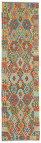 Kilim Afgán Old Style Szőnyeg 79X298 Keleti Kézi Szövésű Sötétszürke/Világoszöld (Gyapjú, Afganisztán)