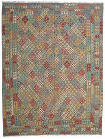 Kilim Afgán Old Style Szőnyeg 305X392 Keleti Kézi Szövésű Olívazöld/Világosszürke Nagy (Gyapjú, Afganisztán)