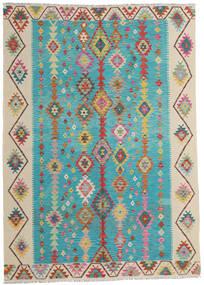 Kilim Afgán Old Style Szőnyeg 203X283 Keleti Kézi Szövésű Türkiz Kék/Sötét Bézs (Gyapjú, Afganisztán)