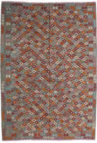 Kilim Afgán Old Style Szőnyeg 208X295 Keleti Kézi Szövésű Sötétpiros/Sötétszürke (Gyapjú, Afganisztán)
