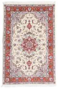 Tabriz 60 Raj Selyemfonal Szőnyeg 101X153 Keleti Csomózású Bézs/Világosszürke (Gyapjú/Selyem, Perzsia/Irán)
