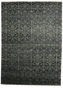 Damask Indiai Szőnyeg 268X362 Modern Csomózású Fekete/Sötétzöld Nagy (Gyapjú/Bamboo Selyem, India)