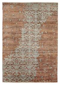 Damask Indiai Szőnyeg 172X245 Modern Csomózású Barna/Világosszürke (Gyapjú/Bamboo Selyem, India)