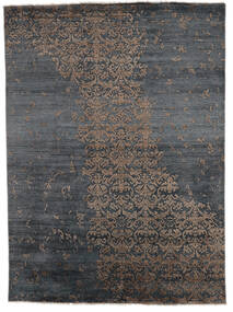 Damask Indiai Szőnyeg 180X246 Modern Csomózású Sötétszürke/Fekete (Gyapjú/Bamboo Selyem, India)